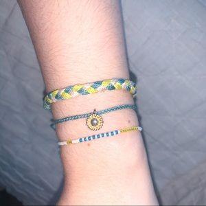 Yellow/ Blue Pura Vida bracelets
